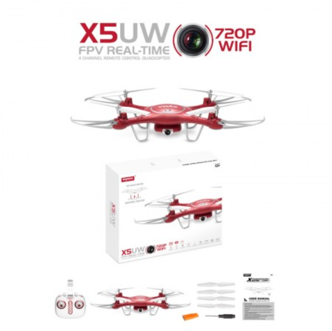 Syma X5UW Red Camera Drone by Tobar Multi