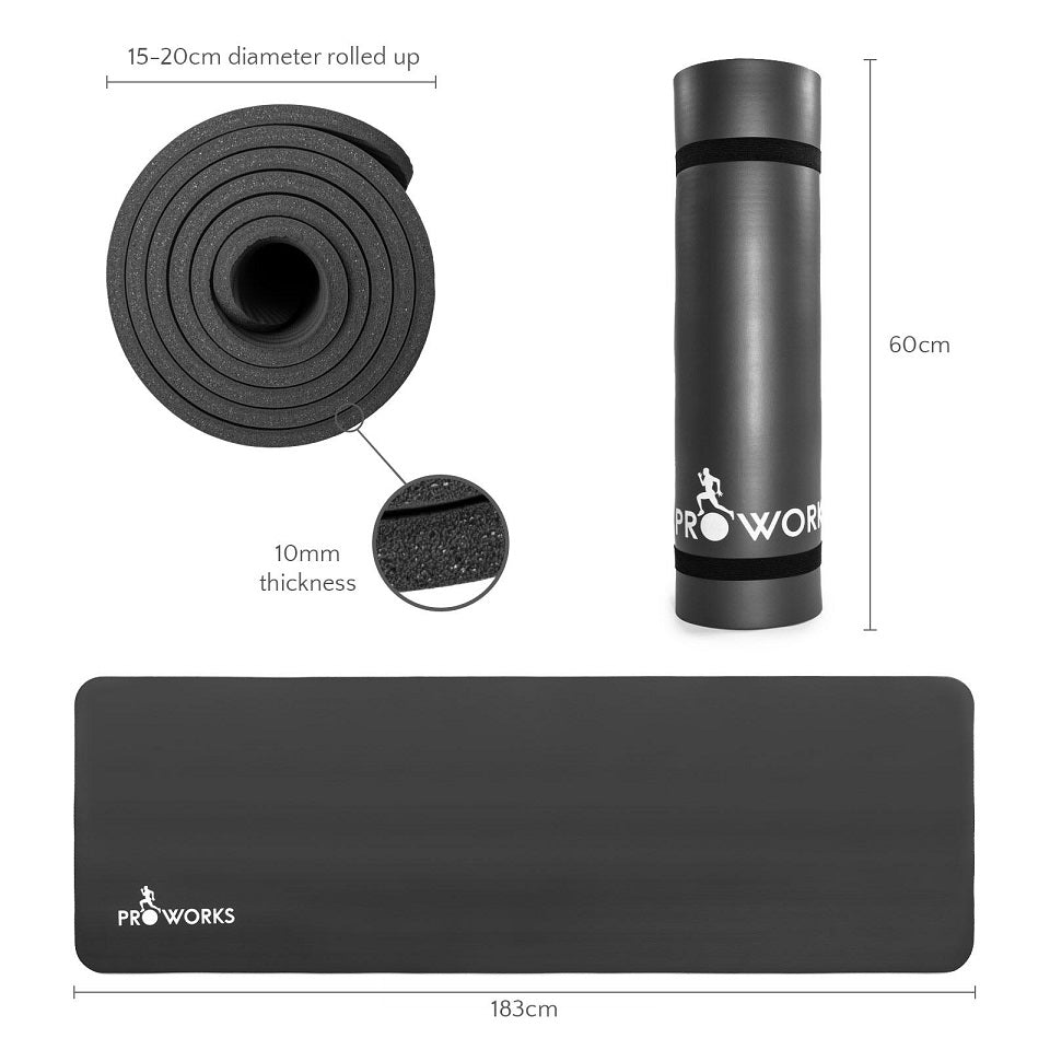 Proworks Large 10mm Thick Padded Yoga Mat with Carry Handle (Black) Size