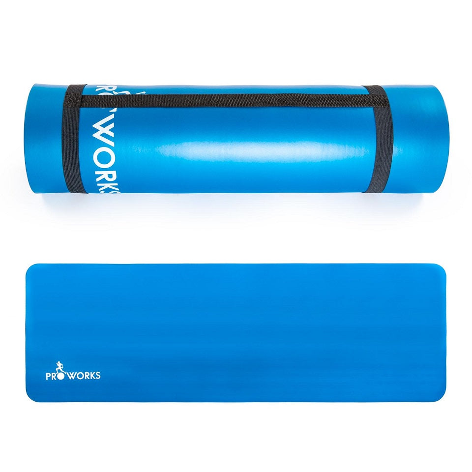 Proworks Large 10mm Thick Padded Yoga Mat with Carry Handle (Blue)