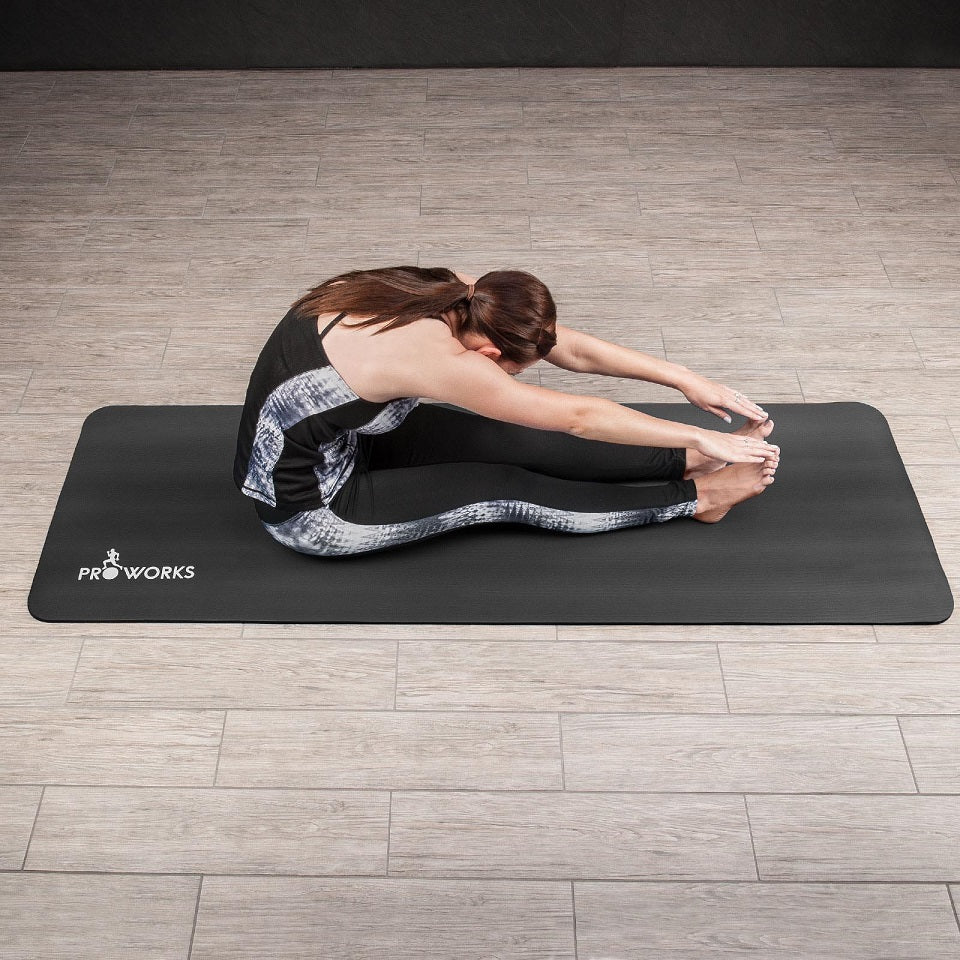 Proworks Large 10mm Thick Padded Yoga Mat with Carry Handle (Black) Stretch