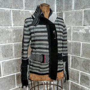 ReMade Sweater Black and Gray with a hint of Red