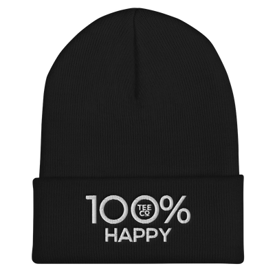 100% HAPPY Cuffed Beanie - 100 Percent Tee Company