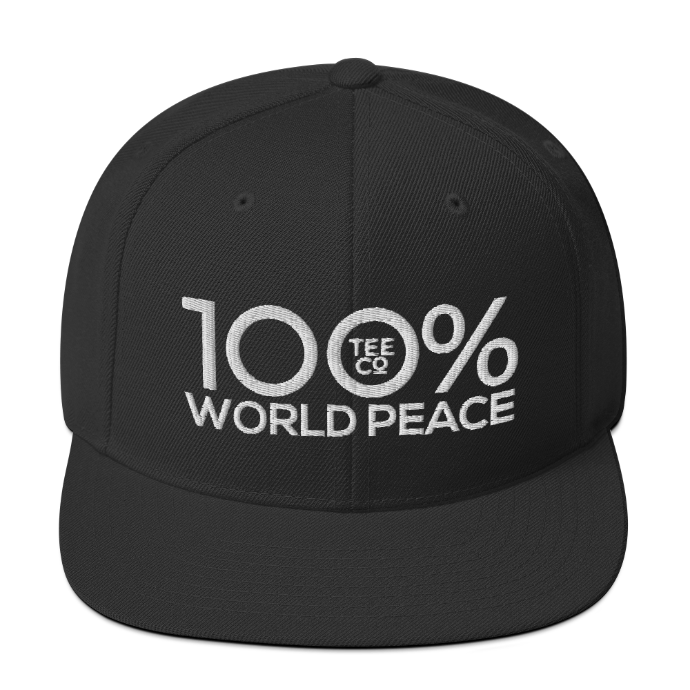 100% WORLD PEACE Snapback Hat - 100 Percent Tee Company