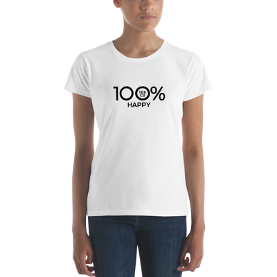 100% HAPPY Women's Short Sleeve Tee - 100 Percent Tee Company