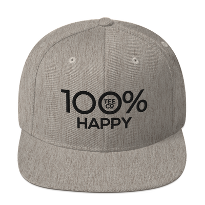 100% HAPPY Snapback Hat - 100 Percent Tee Company