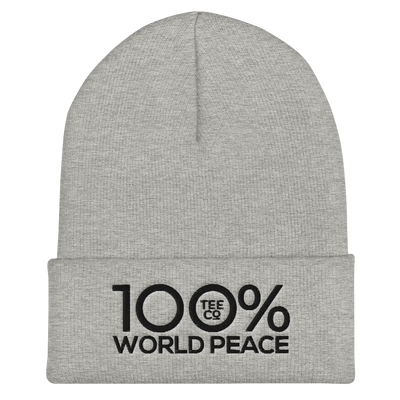 100% WORLD PEACE Cuffed Beanie - 100 Percent Tee Company