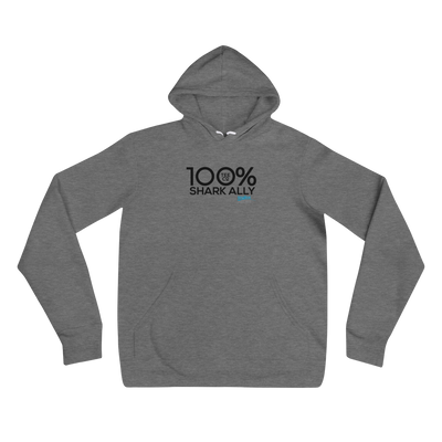 100% SHARK ALLY Unisex Hoodie to benefit Shark Allies - 100 Percent Tee Company