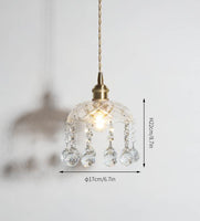 Bowl Shade Pendant Lamp Clear Glass Crystal  Light
