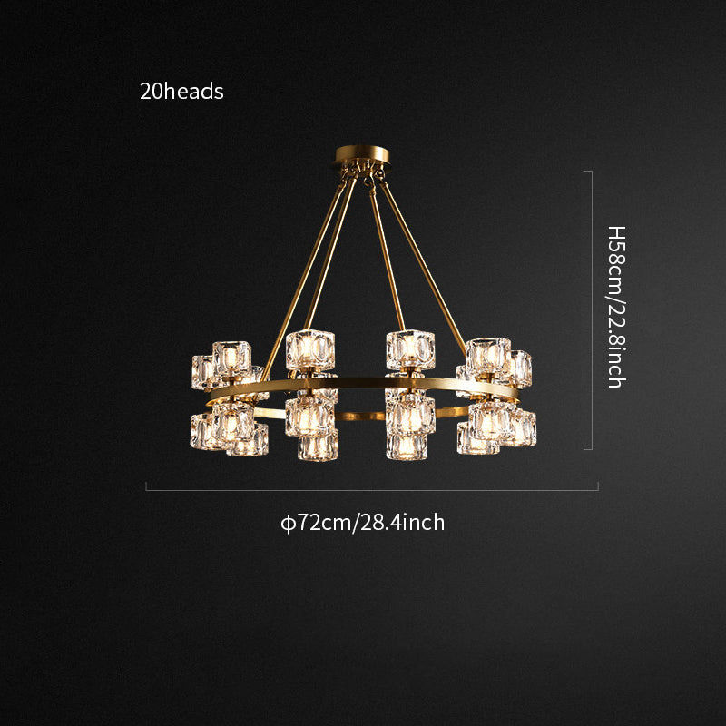 Crystal round chandelier/Brass Crystal series