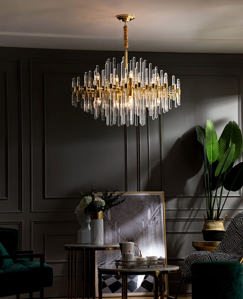 Brass Chandelier with Clear Glass Rods Shade