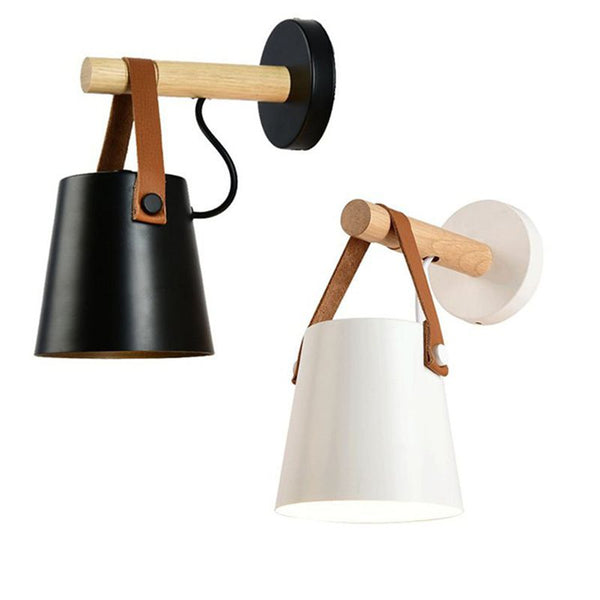 LED wooden wall light with suspended shade