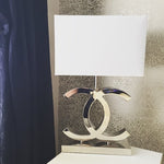 Table lamp Stainless steel black or white lampshade