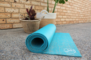 Hemp and Eco Rubber Yoga Mat - Turquoise Ocean