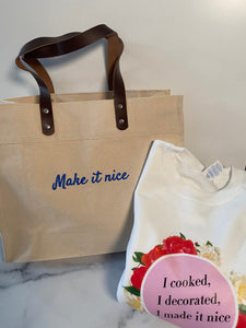 Combo Sale Make it Nice Bag with Leather Handles with one Sweater (Unisize)