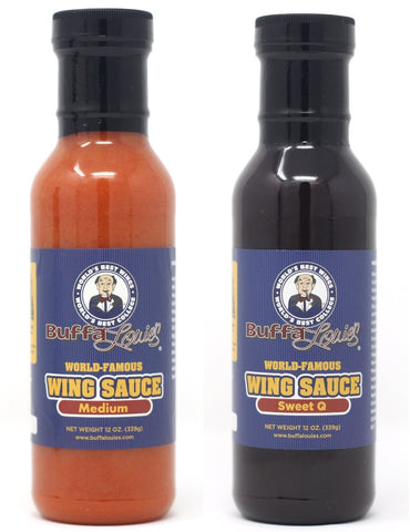BuffaLouie's Combo Pack 1 Buffalo Wing Sauce Medium and 1 Sweet Q - 12oz