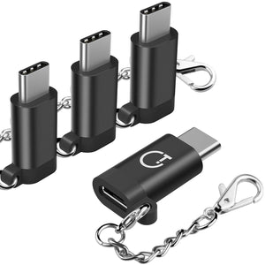 USB C Adapter,Type C Adapter,Gritin 4-Pack High-Speed Aluminum USB C to Micro USB Adapter Converter Connector with Keychain - Black