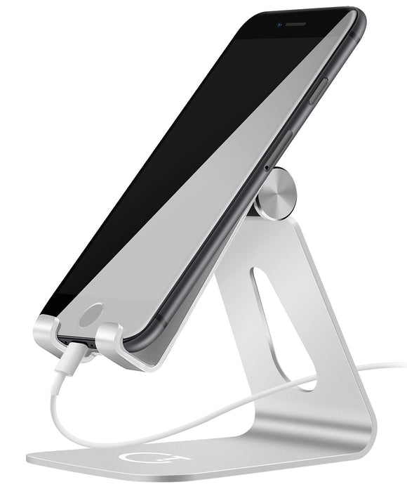 Gritin Phone Stand, Adjustable Phone Holder Stand Dock Holder - Full Aluminum Desktop Holder Stand for iPhone X 8 7 6 6s plus 5 5s 4 4s, Nintendo Switch, HUAWEI, Samsung S3 S4 S5 S6 S7 S8 and more