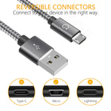 Micro USB Cable,Gritin [3-Pack/1M+1.5M+2M] High Speed Micro USB Charger Charging Cable - Nylon Braided Micro USB Sync Cable for Samsung, Nexus, Kindle, HTC, LG, Sony, PS4 and more