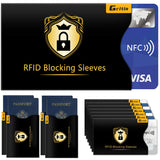 Credit Card Protector, Gritin [18 Pack] RFID Card Protector Blocking Sleeves Passport Protector Contactless Identity Theft Protection Sleeve Set - 14 Credit Card Holders & 4 Passport Protectors