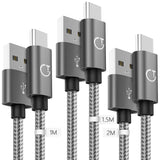 Gritin USB C Cable, [3-Pack/1M+1.5M+2M] USB Type C Charging Cable - Nylon Braided USB C Sync Cable for Galaxy S10/S9/S8+/S8, MacBook, iPad Pro 2018, Sony XZ, HTC 10, OnePlus 5T, Huawei P9 etc.