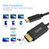 Gritin USB C to HDMI Cable [4K@60Hz], USB Type C to HDMI Cable [Thunderbolt 3 Compatible] for iPad Pro 2018, MacBook Pro, Galaxy Note, Huawei Mate20, etc [2M]