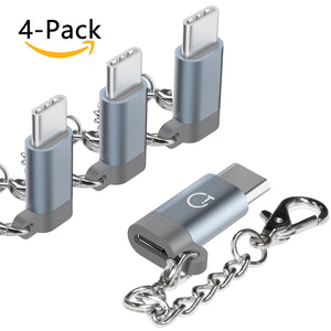 USB C Adapter,Type C Adapter,Gritin 4-Pack High-Speed Aluminum USB C to Micro USB Adapter Converter Connector with Keychain for MacBook,ChromeBook and Other Type C Supported Devices