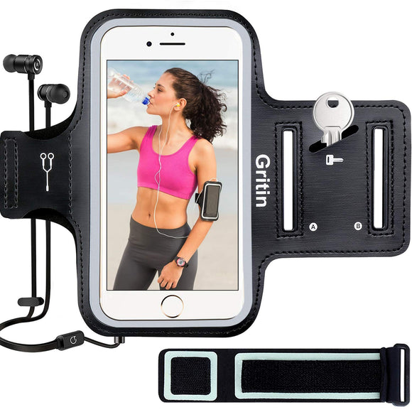 Gritin Running Armband for iPhone 8/7/6 Plus, Skin-Friendly Sweatproof Sports Running Armband with Key and Headphone Slot for Cellphone up to 6.1