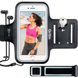 "Gritin Running Armband for iPhone 8/7/6 Plus, Skin-Friendly Sweatproof Sports Running Armband with Key and Headphone Slot for Cellphone up to 6.1""- Perfect for Jogging, Gym, Cycling, Biking, Hiking"
