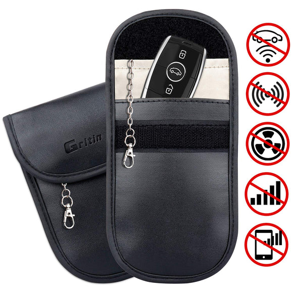 Gritin Car Key Signal Blocker Pouch, [2-Pack] Keyless Car RFID Signal Blocking Case - PU Leather Antitheft Keyless Entry Fob Guard for Car Keys