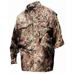 Drake Waterfowl Duck /Pigeon Shooters Shirt L/S Mossy Oak Duck Blind Camo (Large)