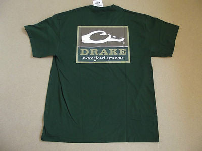 Drake Waterfowl (Square Logo) T-Shirt Forest Green (X Large)