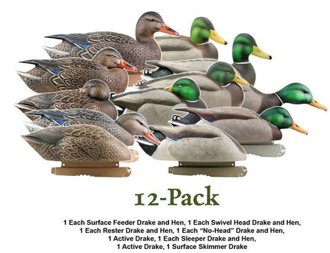 "Avery / GHG Pro Grade Mallards Harvester Pack 12 Decoys with "" Drake Flocked Heads"""
