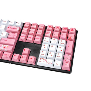 108 Keys Cherry Blossom Five Sided | PBT Hot Sublimation Mechanical | Custom Keycaps for AKKO 3108 - Anne Pro 2