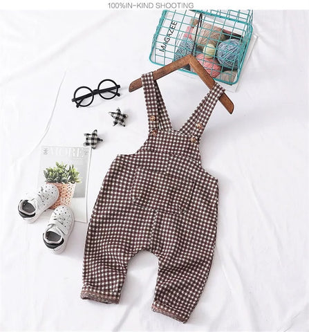 Stretchy plaid overalls