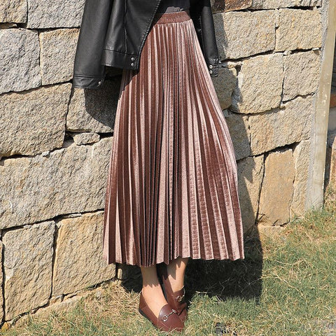 Skirt Gold Velvet New Autumn