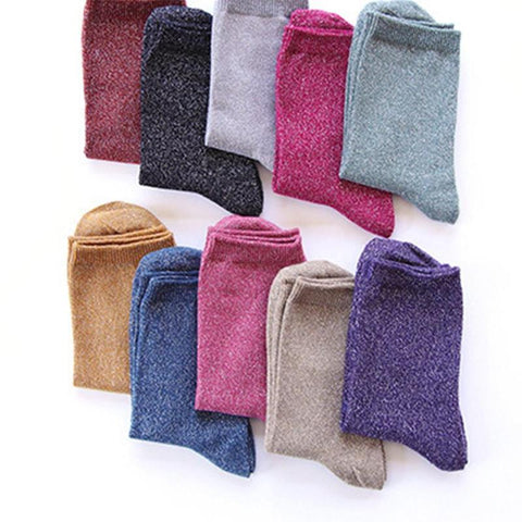 Women Vintage Glitter Socks