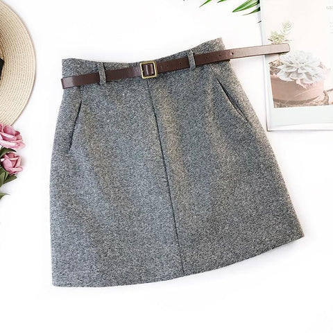 Womens With Belt Woolen Mini Skirt