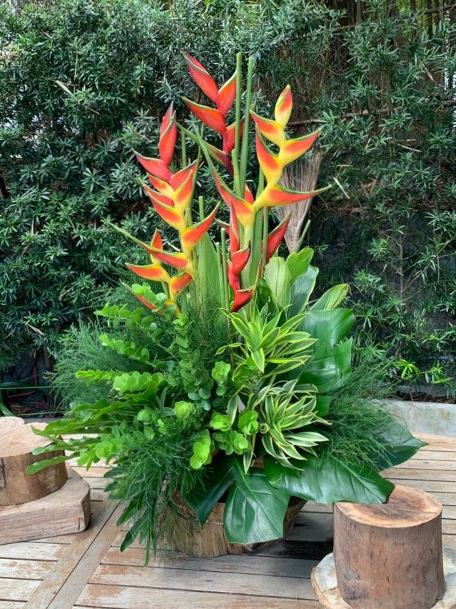 Half faced arrangement with birds of paradise and tropical foliage
