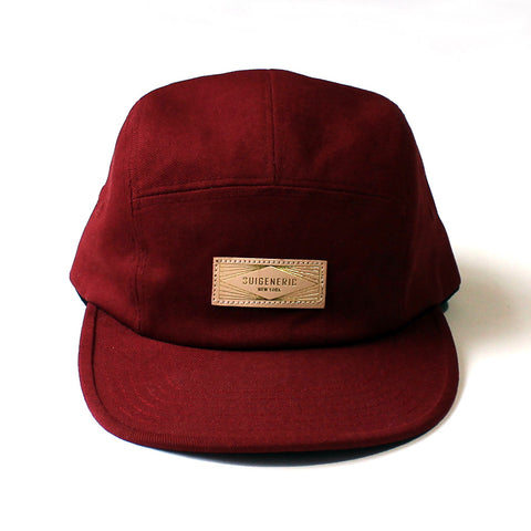 Solid 5 Panel Cap - Burgundy
