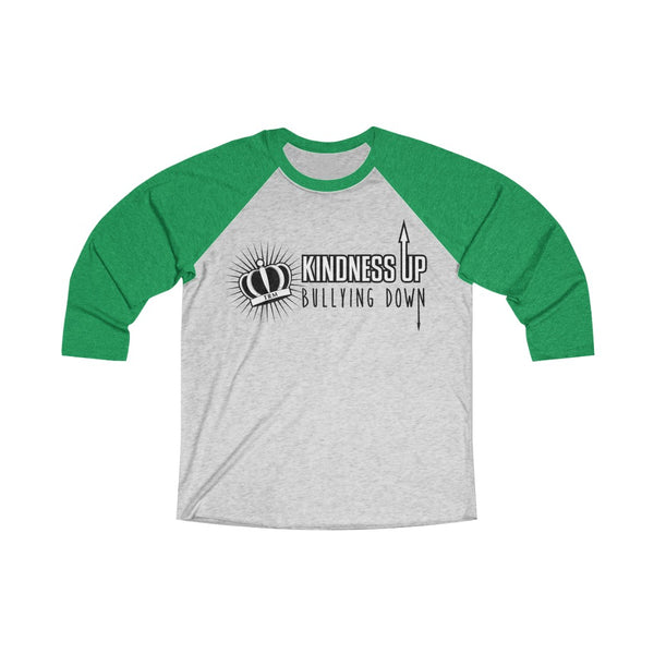 Kindness Up Bullying Down Adult Unisex Tri-Blend 3/4 Raglan Tee