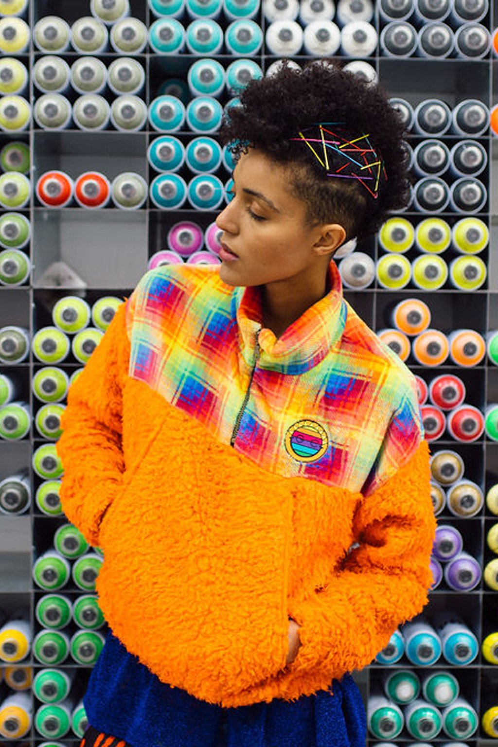 Half-Zip Pullover in Multi Fleece and Orange Teddy. - Jumper - Megan Crook