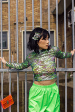 Load image into Gallery viewer, Foil Mesh long sleeve Crop Top in Green. - Top - Megan Crook