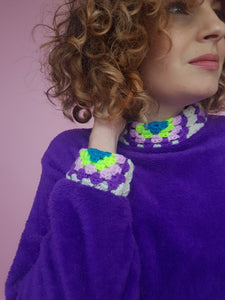 Crochet Trim Jumper in Purple