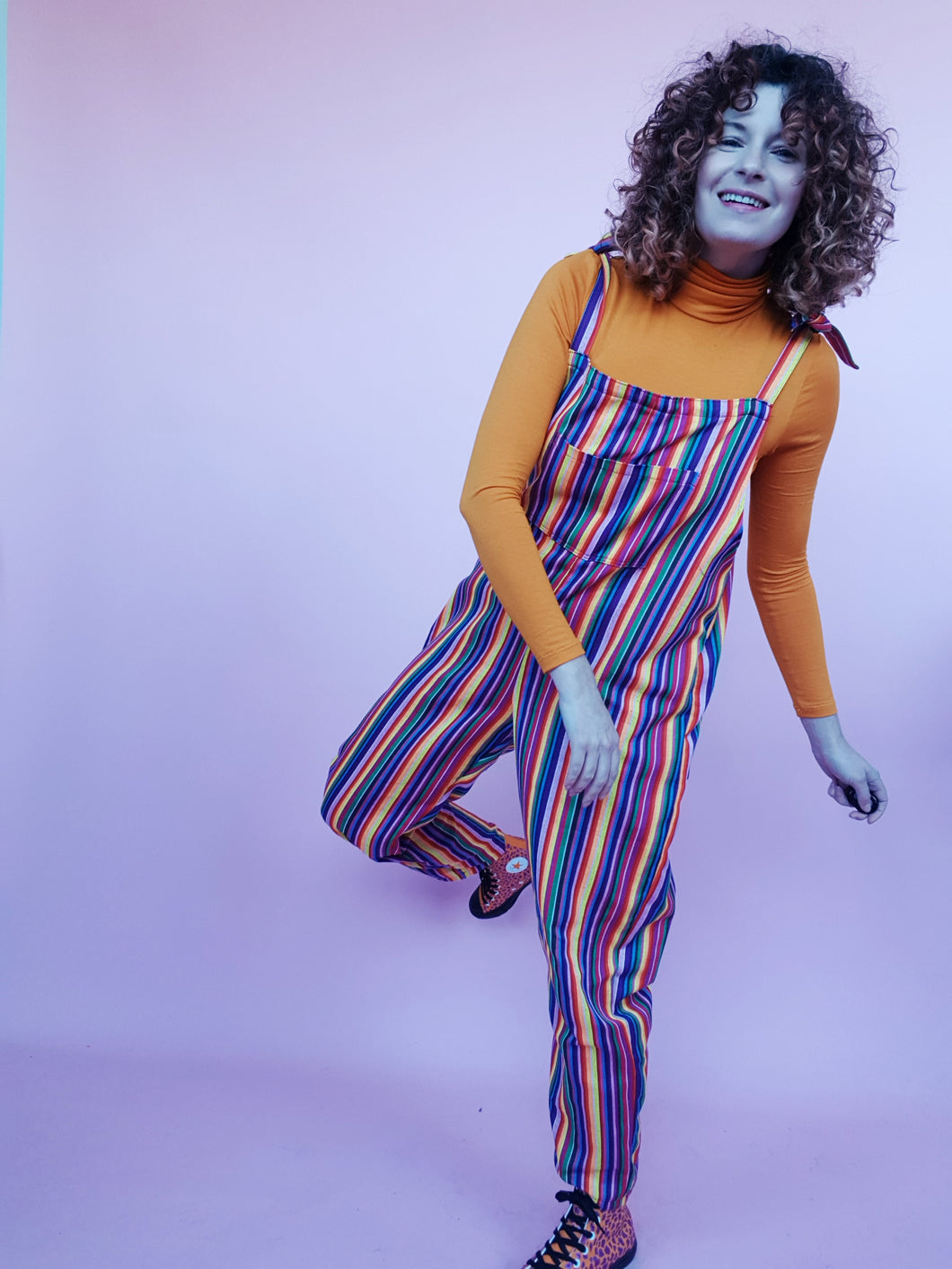 Woven Stripe Dungarees in Rainbow