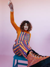 Load image into Gallery viewer, Woven Stripe Dungarees in Rainbow