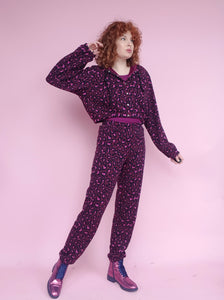 *Sample* Fleece Sweatpants in Purple Leopard