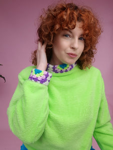 Crochet Trim Jumper in Neon Green