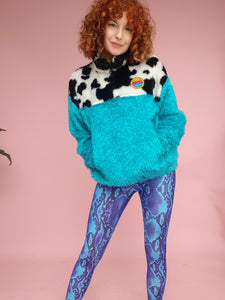 Half-Zip Pullover in Cow Fur and Blue Teddy
