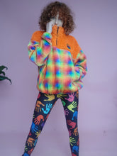 Load image into Gallery viewer, Half-Zip Pullover in Orange Teddy and Multi Fleece