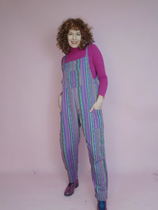 Woven Stripe Dungarees in Purple